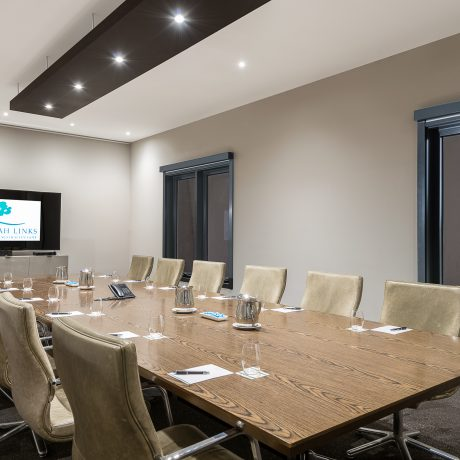 The conference room at Peppers Moonah Links Resort Conference Centre has natural light and environmental-friendly LED lighting system to create the bright meeting space