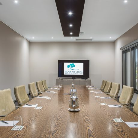 Private Boardroom layout conference room at Peppers Moonah Links Resort Conference Centre