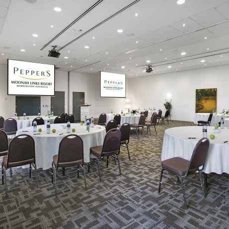 Set amongst stunning golf course scenery, Peppers Moonah Links Resort makes for a memorable conference and incentive destination for you to hire on the Mornington Peninsula